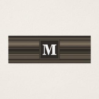 Rayures de taupe de monogramme mini carte de visite