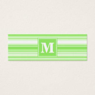 Rayures de vert de chaux de monogramme mini carte de visite