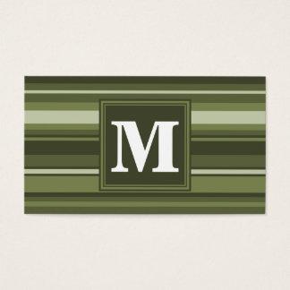 Rayures de vert olive de monogramme cartes de visite