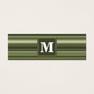 Rayures de vert olive de monogramme mini carte de visite