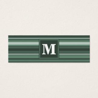 Rayures de vert sauge de monogramme carte de visite petit format