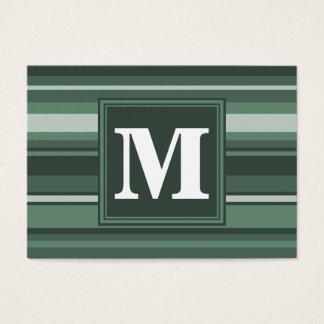 Rayures de vert sauge de monogramme cartes de visite