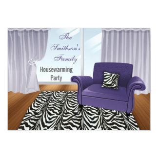 rayures de zèbre, sofa pourpre chic, invitations