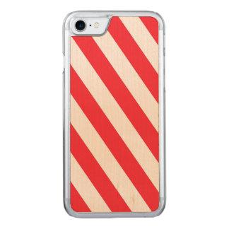 Rayures diagonales rouges et blanches de sucre de coque carved iPhone 8/7