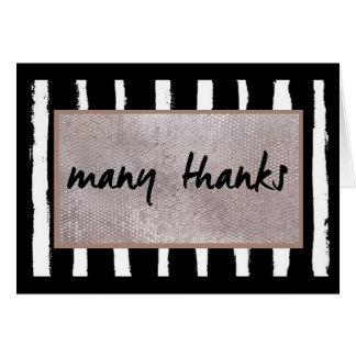 Rayures et carte de remerciements de paillettes