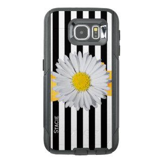 Rayures et cas d'Otterbox Samsung S6 de marguerite