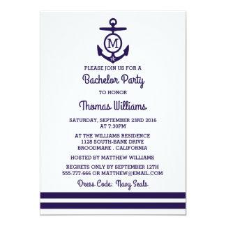 Rayures et enterrement de vie de jeune garçon carton d'invitation  12,7 cm x 17,78 cm