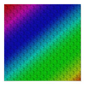 Rayures et fleurs diagonales colorées carton d'invitation  13,33 cm