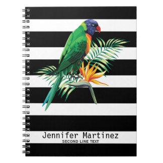Rayures et perroquet carnet à spirale
