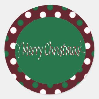 Rayures et pois de sucre de canne de Joyeux Noël Sticker Rond