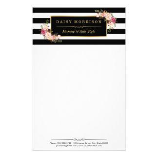 Rayures florales vintages chiques de blanc de noir papeterie