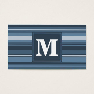 Rayures gris-bleues de monogramme cartes de visite