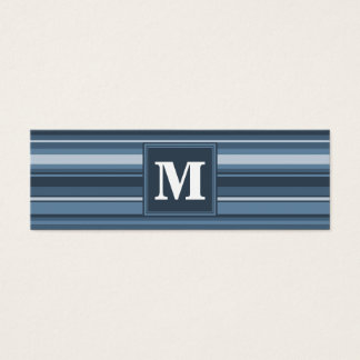 Rayures gris-bleues de monogramme mini carte de visite
