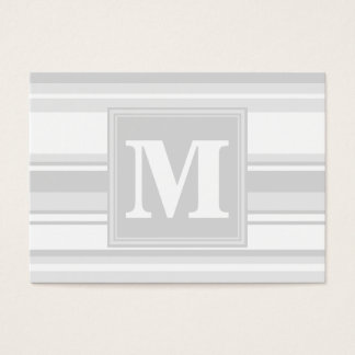Rayures gris-clair de monogramme cartes de visite