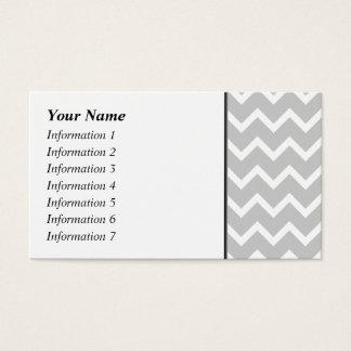 Rayures grises et blanches de zigzag carte de visite standard