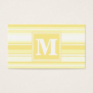 Rayures jaune citron de monogramme cartes de visite