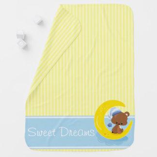 Rayures jaunes avec l'ours de nounours   couvertures de bébé