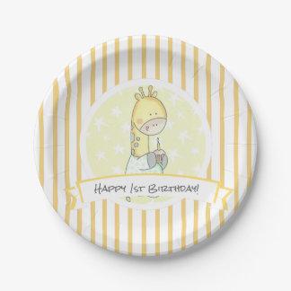 Rayures jaunes de girafe avec de petit gâteau assiettes en papier