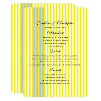 Rayures jaunes de mariage de menu carton d'invitation  11,43 cm x 15,87 cm