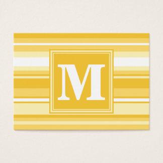 Rayures jaunes de monogramme carte de visite grand format