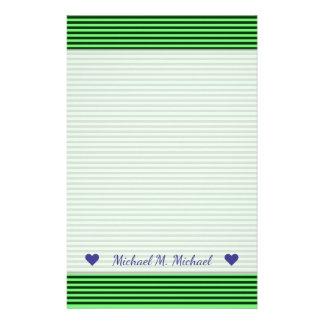Rayures/lignes vert-foncé et vert clair motif papeterie