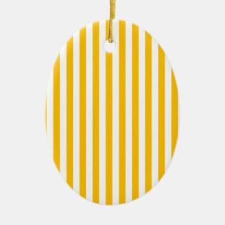 Rayures minces - blanc et ambre ornement ovale en céramique