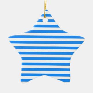 Rayures minces - blanc et bleu ornement étoile en céramique
