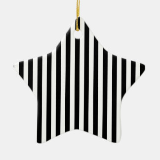Rayures minces - blanc et noir ornement étoile en céramique