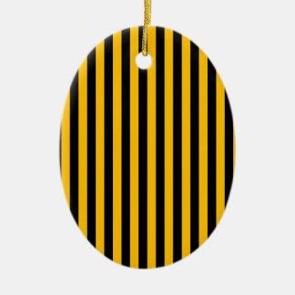 Rayures minces - noir et ambre ornement ovale en céramique