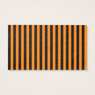 Rayures minces - noir et orange cartes de visite