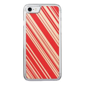 Rayures multi diagonales rouges et blanches de coque carved iPhone 8/7