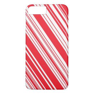 Rayures multi diagonales rouges et blanches de coque iPhone 8 plus/7 plus