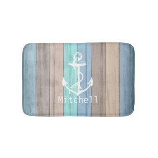 Rayures nautiques en bois et ancre de plage tapis de bain
