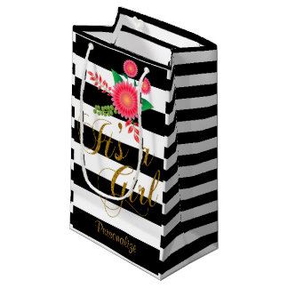 Rayures noires et blanches élégantes avec floral petit sac cadeau