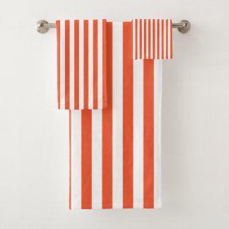 Rayures - Orange&White - ensemble de serviette