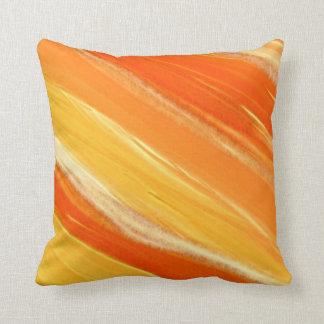 Rayures oranges et jaunes diagonales abstraites oreillers