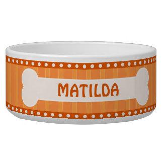 Rayures oranges mignonnes os et grande cuvette de assiette pour chien