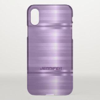Rayures pourpres métalliques brillantes décorées coque iPhone x