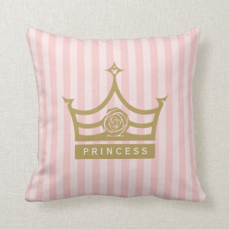 Rayures roses chics et princesse rose Crown d'or Coussin