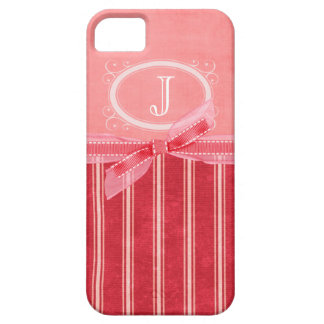 Rayures roses de monogramme coque Case-Mate iPhone 5