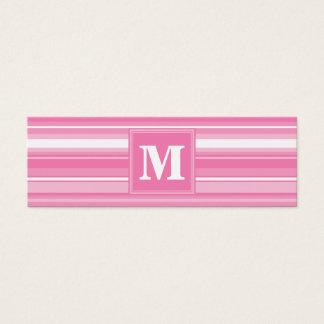 Rayures roses de monogramme mini carte de visite