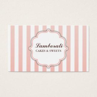 Rayures roses et blanches mignonnes modernes cartes de visite
