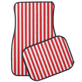 Rayures rouges et blanches verticales tapis de voiture