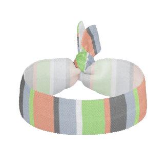 Rayures vert clair, oranges, bleues et noires élastique pour cheveux