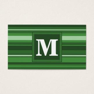 Rayures vertes de monogramme carte de visite standard