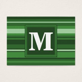 Rayures vertes de monogramme cartes de visite