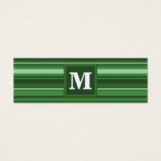 Rayures vertes de monogramme mini carte de visite