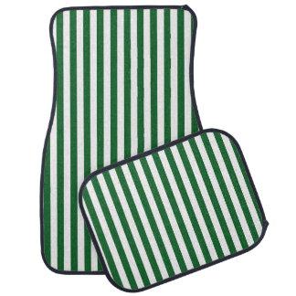Rayures vertes et blanches verticales tapis de voiture