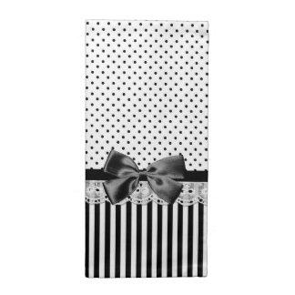 Rayures victoriennes noires et blanches avec l'arc serviettes