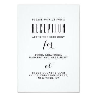 Réception de mariage élégante moderne simple carton d'invitation 8,89 cm x 12,70 cm